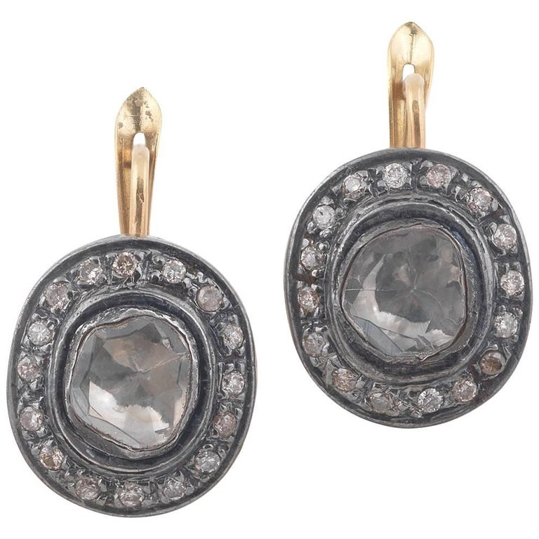 Rose Cut Diamond Silver Gold Earrings