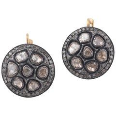 Pavé Rose Cut Diamond Silver Gold Earrings
