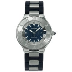 Cartier Stainless Steel Autoscaph 21 Automatic Wristwatch