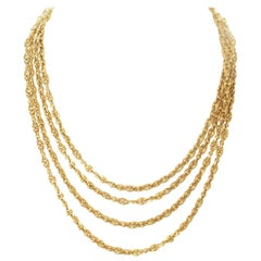 Long French Gold Link Necklace