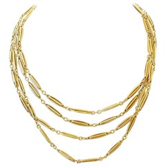 Long French Prism Link Gold Necklace