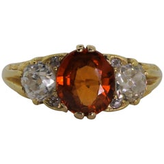 English Citrine and Old Mine Cut Diamond Ring
