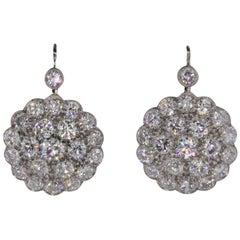 Cluster Diamond Platinum Earrings