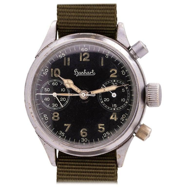 Hanhart base metal German Military Flyback Chronograph wristwatch, circa 1940s