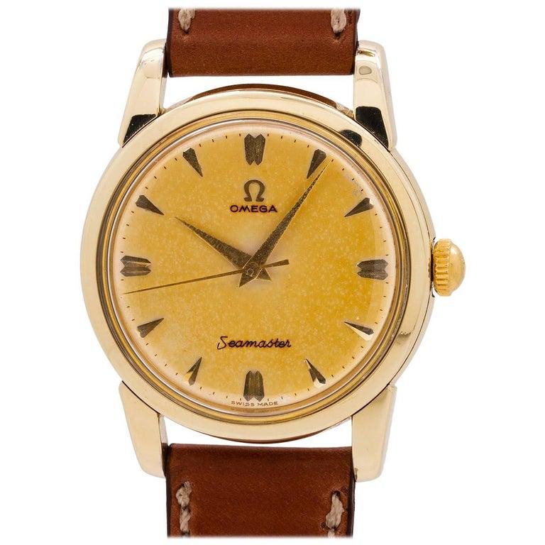 Omega Yellow Gold Filled Tropical Seamaster manual Wristwatch, circa 1950s