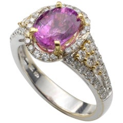 Oval Pink Sapphire Engagement Ring 18 Karat White and Yellow Gold Pave Diamonds