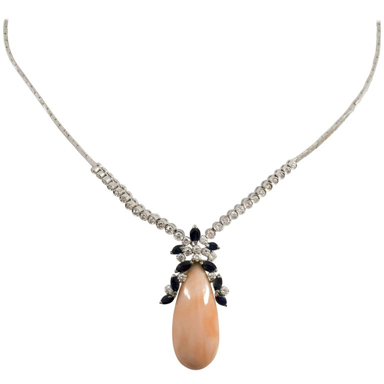 3.10 Carat Sapphire Pink Coral 2.50 Carat Diamond White Gold Necklace