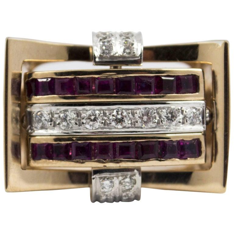"1.00 Carat Ruby Sapphire 0.50 Carat Diamond Yellow Gold ""Swivel"" Ring"