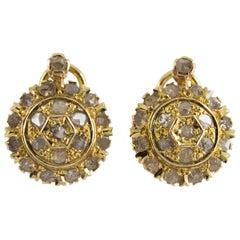 1.20 Carat Diamond Yellow Gold Clip-On Earrings