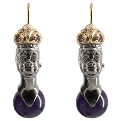 "0.33 Carat Ruby Agate Pearl Diamond Yellow Gold ""Blackamoor"" Earrings"
