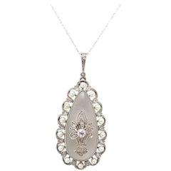 Art Deco 1930s Rock Crystal, Diamond and Cultured Pearls on Chain / Platinum