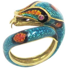 18 Karat 1960s Enamel Snake Ring with Ruby Eyes