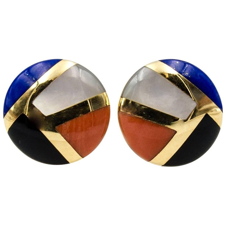 Asch Grossbardt Gold Coral Lapis Pearl Earclips