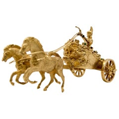 Gold Ruby Emerald Sapphire Diamond Roman Chariot and Rider