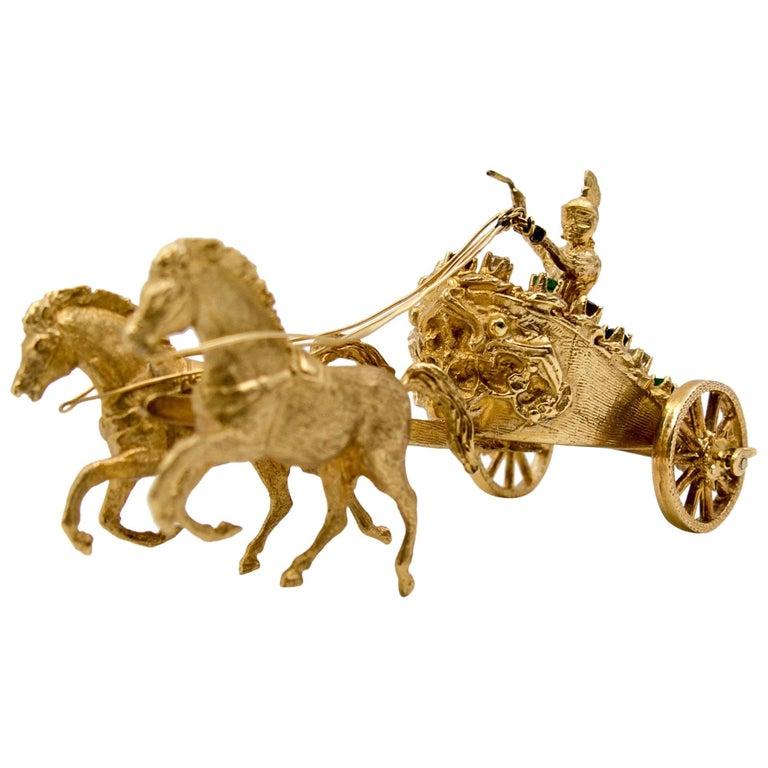 Gold Ruby Emerald Sapphire Diamond Roman Chariot and Rider