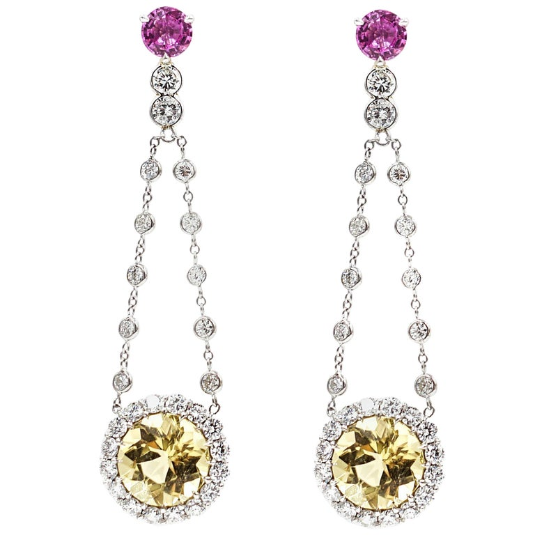 Pink Sapphire and Yellow Beryl Drop Earrings