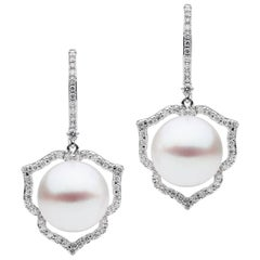 White Diamond Pearl Earrings