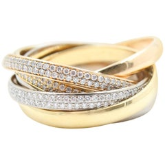 Cartier Six Row Trinity Pave Diamond Wedding Ring 18 Karat Rose and White Gold