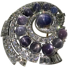 Natural Blue Star Sapphire Diamond Brooch, Diamonds 11.75 Carats