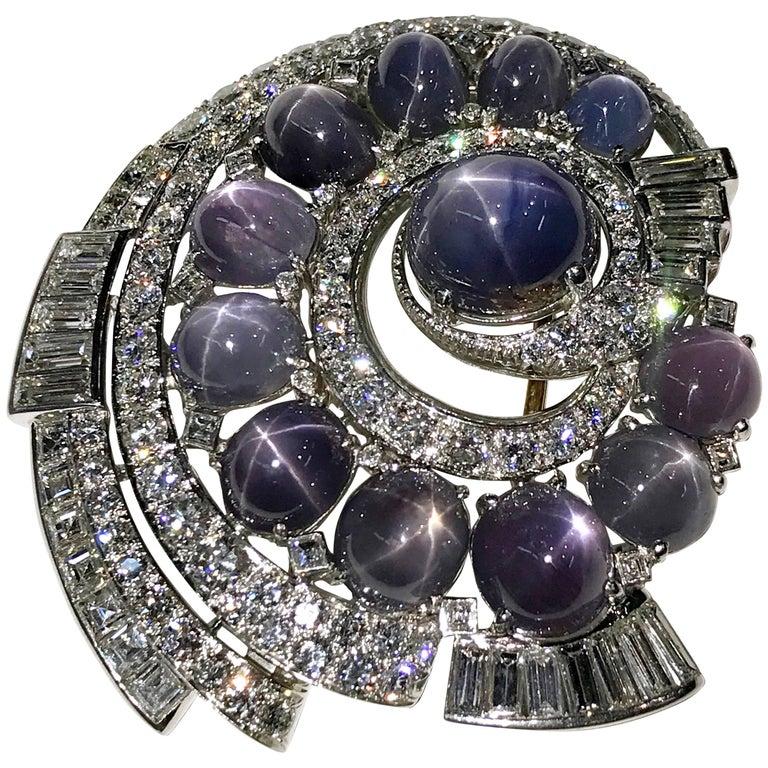 Natural Blue Star Sapphire Diamond Brooch, Diamonds 11.75 Carats