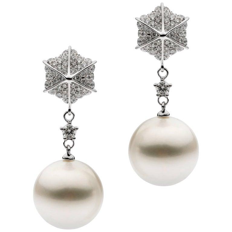 White Diamond White South Sea Pearl Drop Earrings