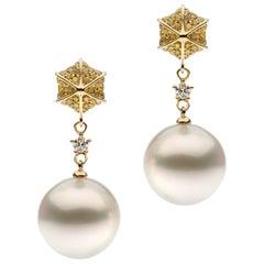 White Diamond Yellow Diamond South Sea Pearl Earrings