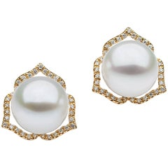 Brown Diamond White South Sea Pearl Stud Earrings