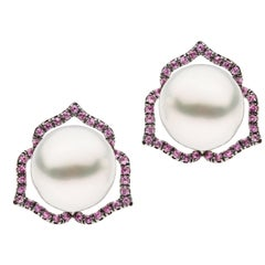 Pink Sapphire White South Sea Pearl Stud Earrings