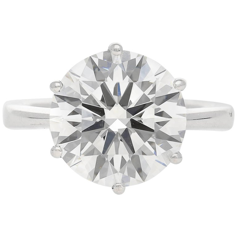 """GIA Certified Round-Cut 6.82 Carat """"G"""" Color """"VS1"""" Clarity Diamond Ring"""