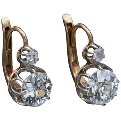 2.60 Carat Diamond Belle Époque Earrings