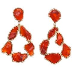 One of a Kind Mexican Fire Opal Diamond Gold Drop Earrings