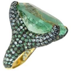 55.94 Carat Fluorite Aquamarine Tsavorite Pavé Gold Claw Ring