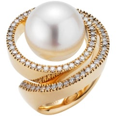 South Sea Cultured Pearl and Diamond Ring