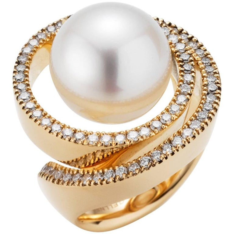 18 Karat Rose Gold South Sea Cultured Pearl and Diamond Cocktail Ring