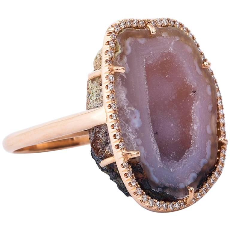 Karolin Agate Geode Pink Gold Cocktail Ring Pavé Diamonds
