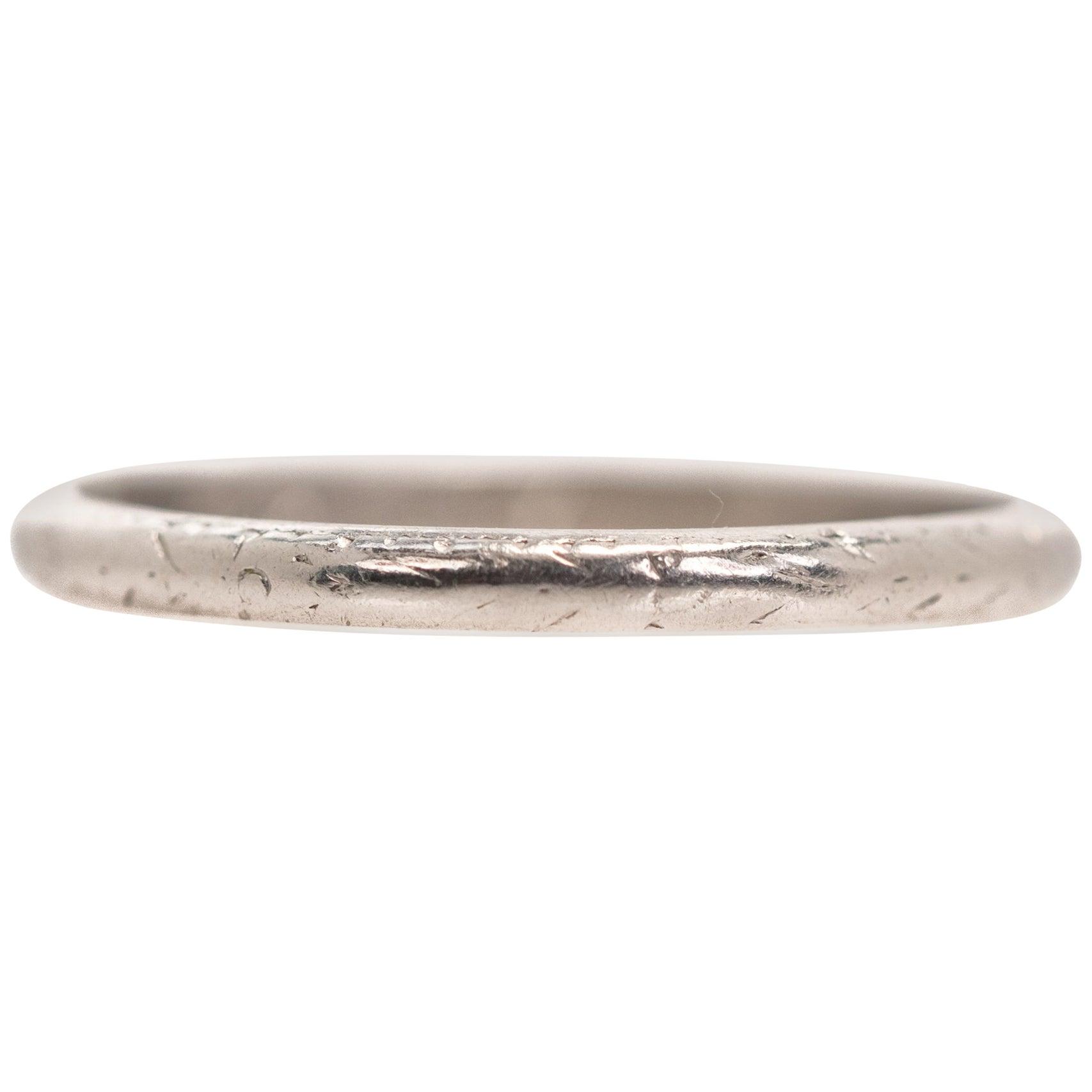 1921 Art Deco Platinum Wedding Band Ring