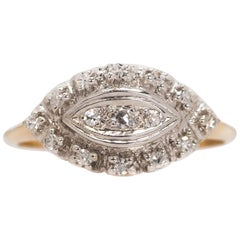1930s 0.25 Carat Diamond and 14 Karat Gold Two-Tone Antique Ring