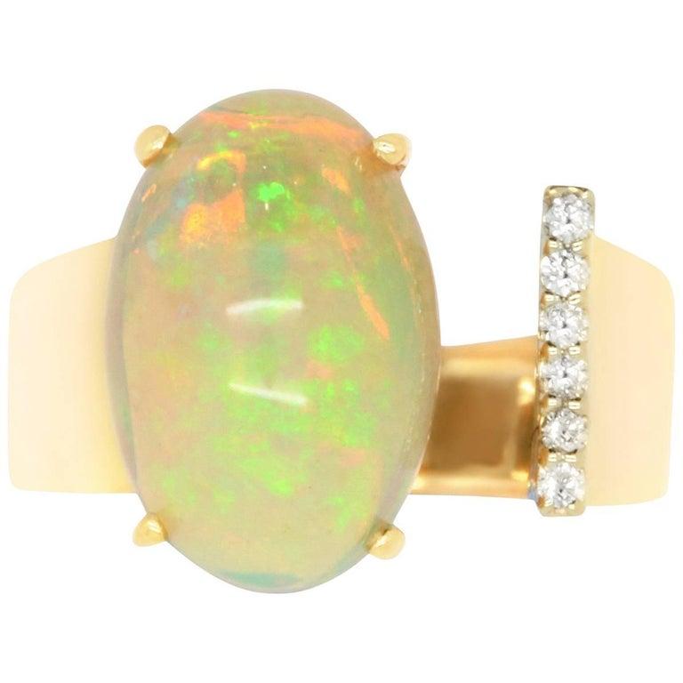 2.96 Carat Opal and 0.03 Carat Diamond Ring