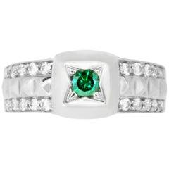 0.20 Carat Round Blue Diamond and 0.39 Carat White Diamond Ring