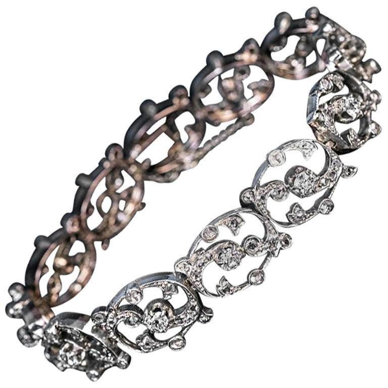 1920s French Diamond Two-Color Gold Bracelet