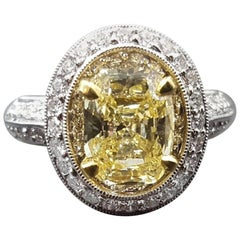 2.02 Carat Yellow Cushion Cut Diamond Ring