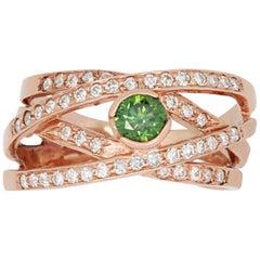 0.49 Carat Round Green Diamond and 0.65 Carat Diamond Ring