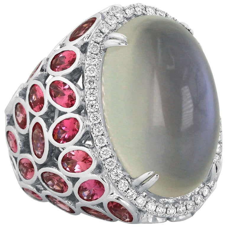Moonstone Pink Spinel Diamond and White Gold Statement Ring