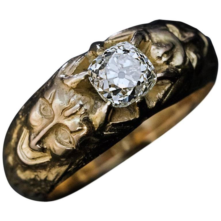 Antique Cushion Cut Diamond Gold Men's Ring