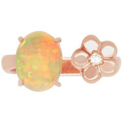 1.31 Carat Opal and 0.03 Carat Diamond Ring