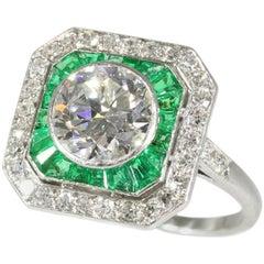 Diamond Emerald Platinum Ring