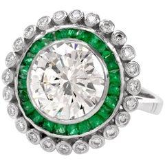 Round Brilliant Diamond Emerald Platinum Engagement Ring