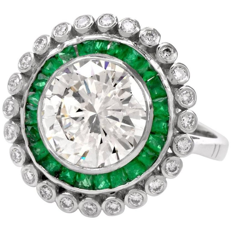 Round Brilliant Diamond Emerald Platinum Engagement Ring