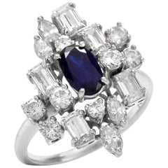 1960s Sapphire Diamond Cluster White Gold Cocktail Ring
