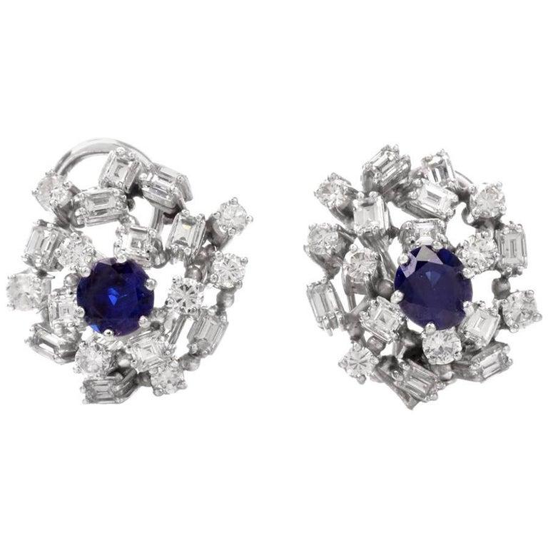 1960s Blue Sapphire Baguette Diamond Cluster Clip-On Earrings